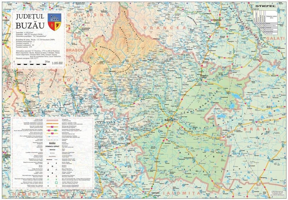 Harta Judetului Buzau 100x70 cm sipci plastic
