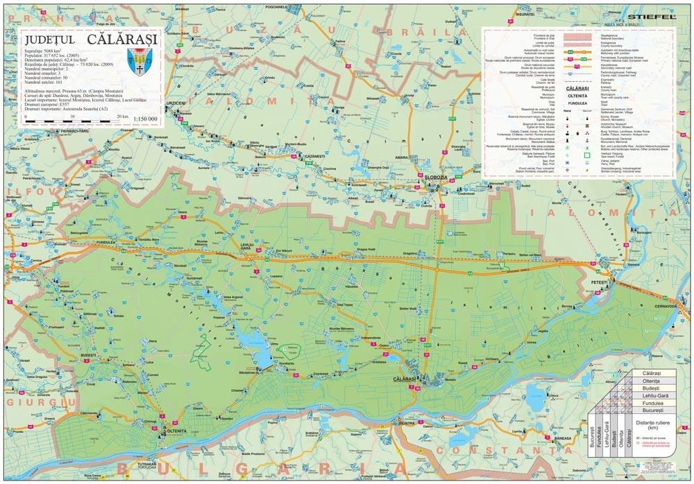 Harta Judetului Calarasi 100x70 cm sipci plastic
