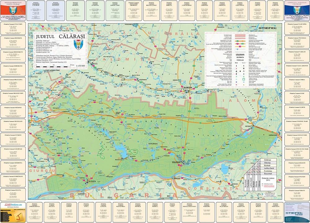 Harta Judetului Calarasi cu primarii