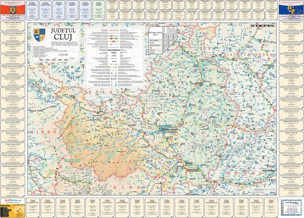 Harta Judetului Cluj cu primarii