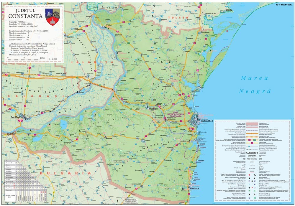 Harta Judetului Constanta 100x70 cm sipci plastic