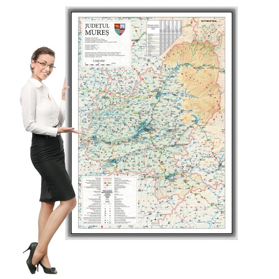 Harta Mures in rama de aluminiu