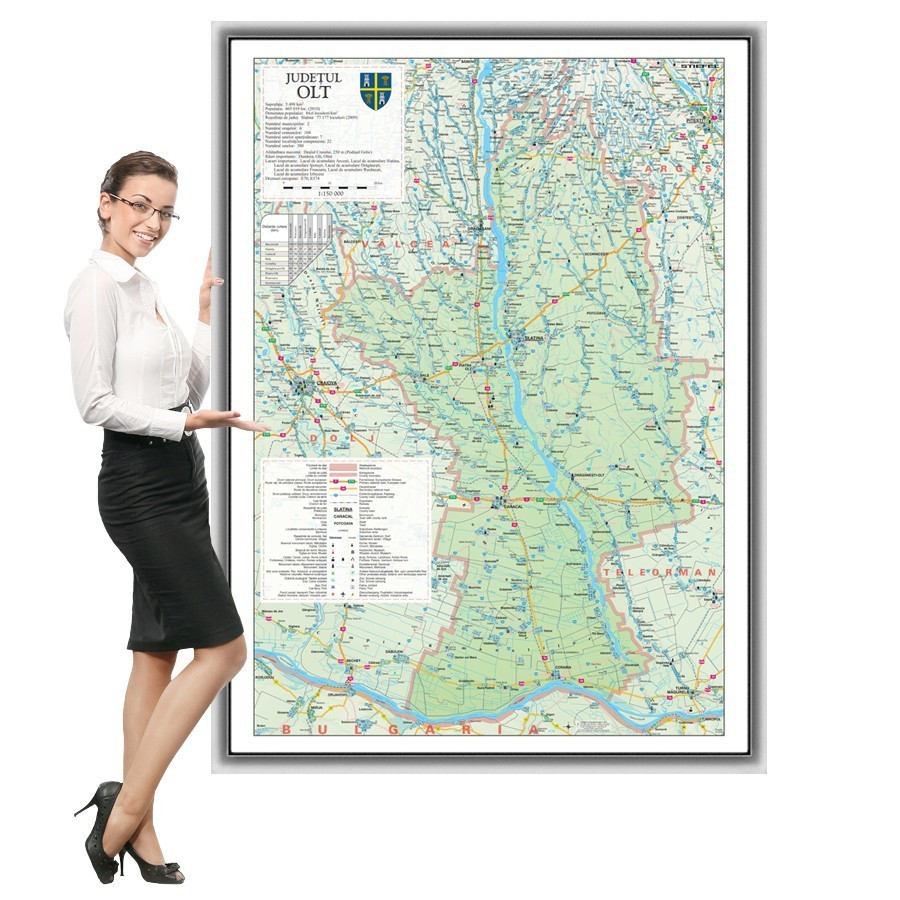 Harta Olt in rama de aluminiu
