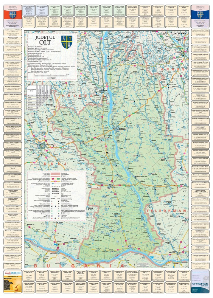 Harta Judetului Olt cu primarii