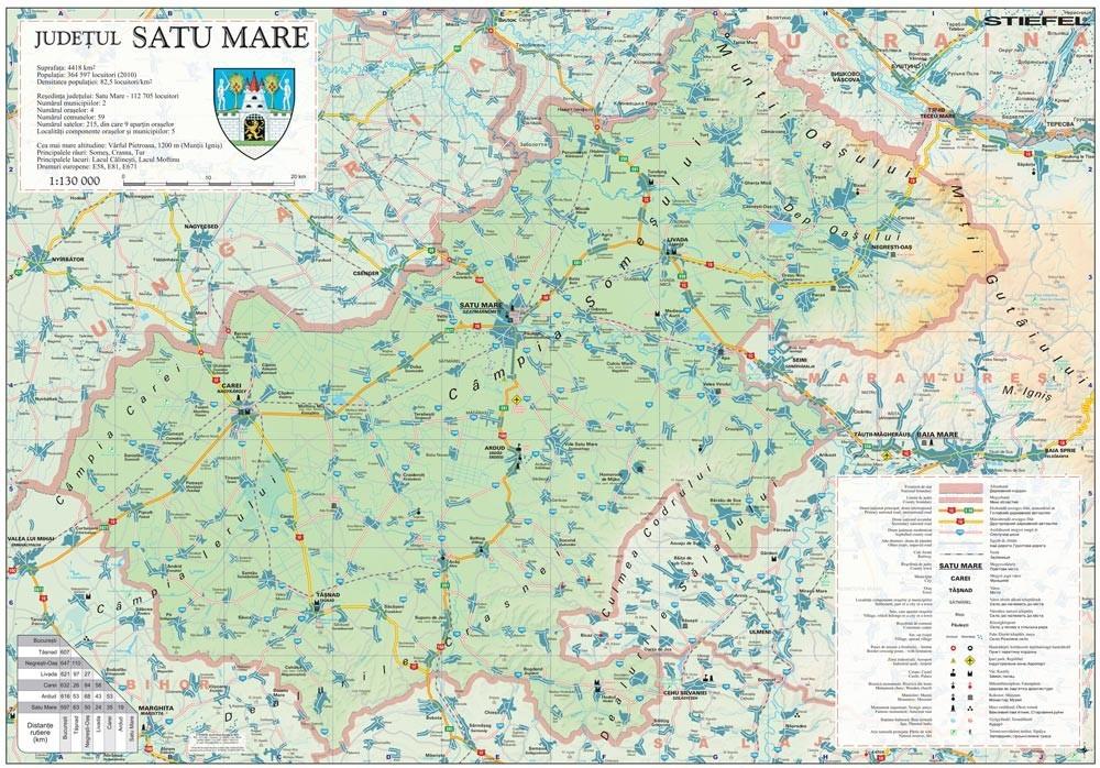 Harta Judetului Satu Mare 100x70 cm sipci plastic