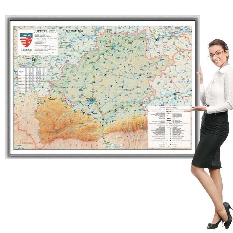 Harta Sibiu in rama de aluminiu