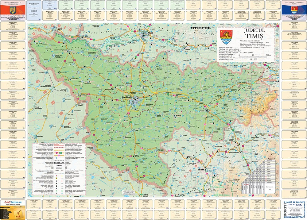Harta Judetului Timis cu primarii