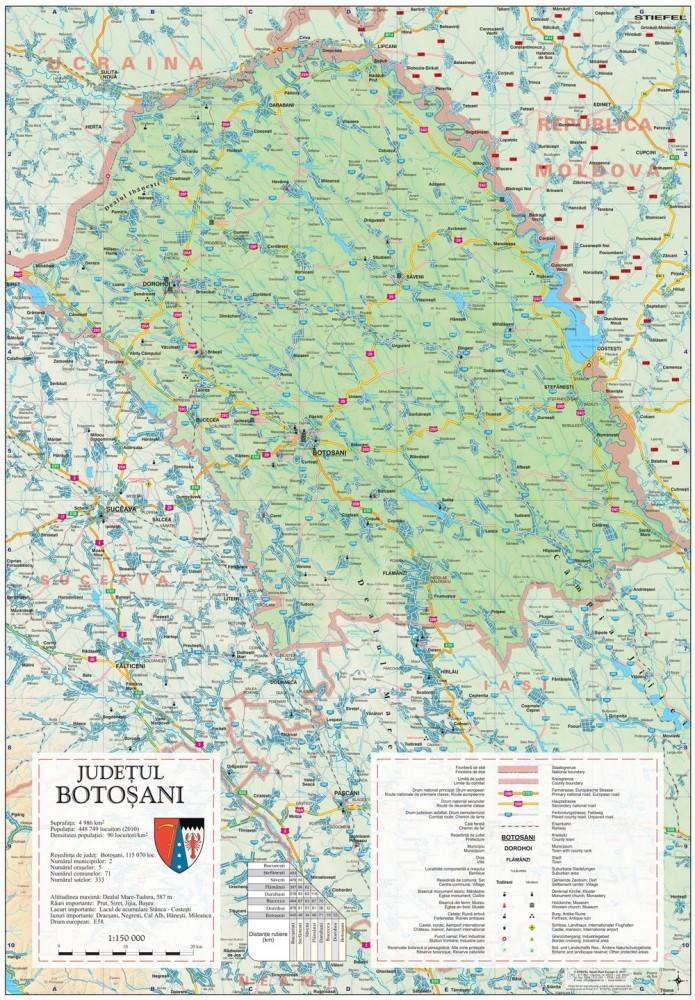 Harta Judetului Botosani 70x100 cm sipci plastic