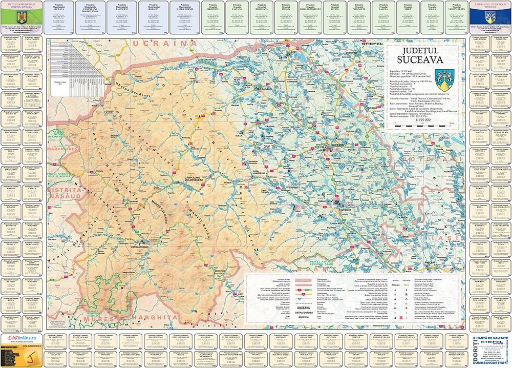 Harta Judetului Suceava cu primarii