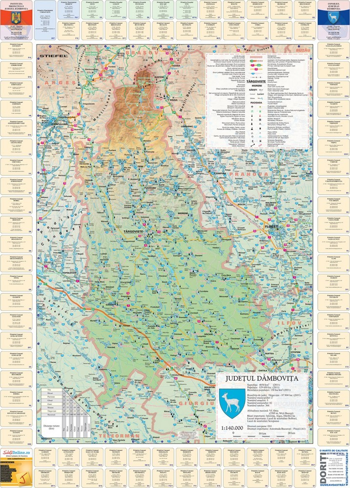 Harta Judetului Dambovita cu primarii