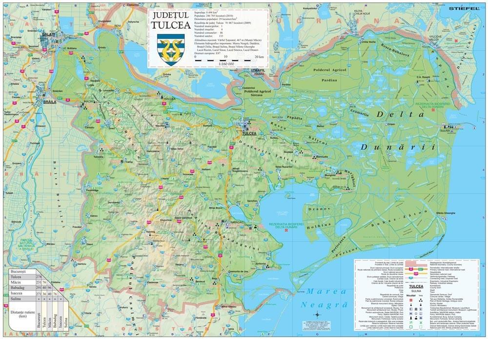 Harta Judetului Tulcea 100x70 cm sipci plastic