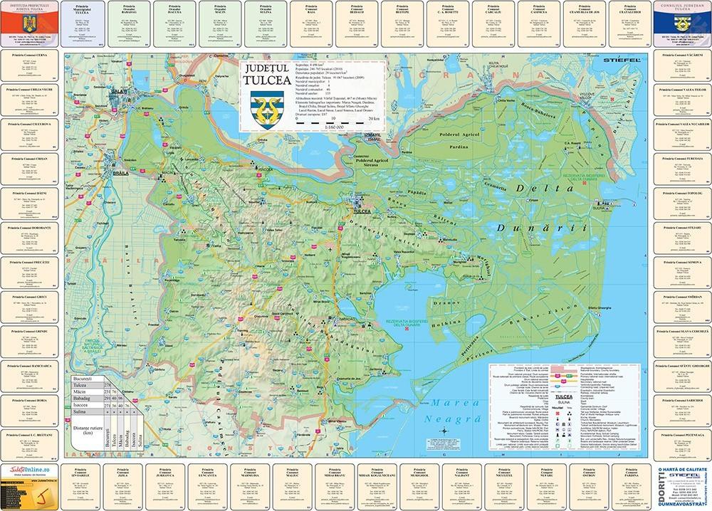 Harta Judetului Tulcea cu primarii