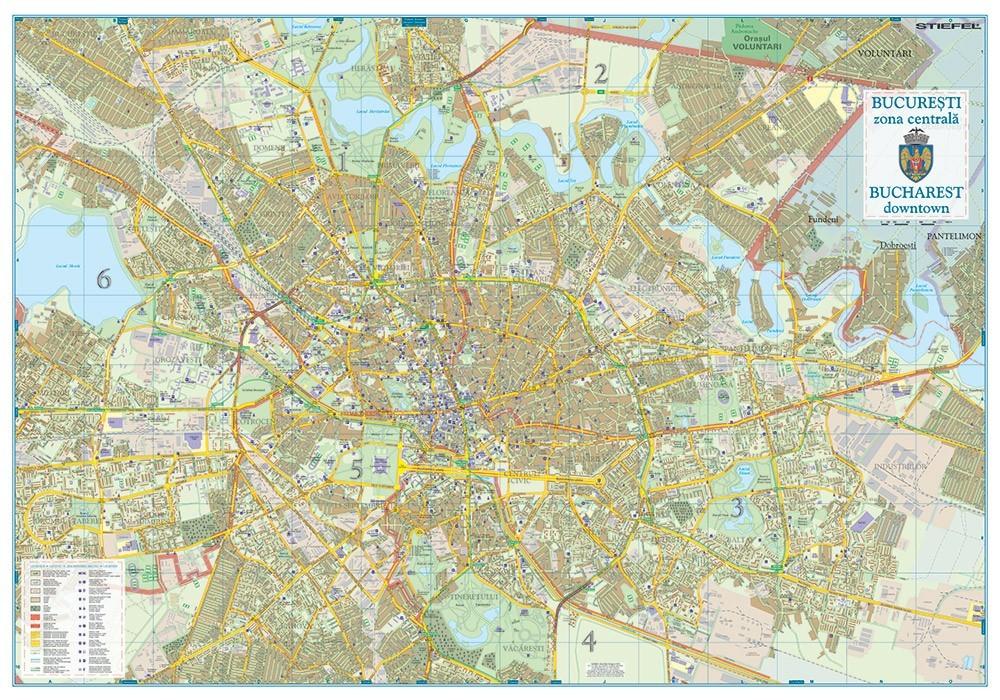 Harta de perete Bucuresti Zona Centrala 100x70 cm sipci plastic