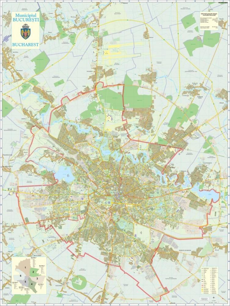 Harta de perete Bucuresti Integral 140x180 cm