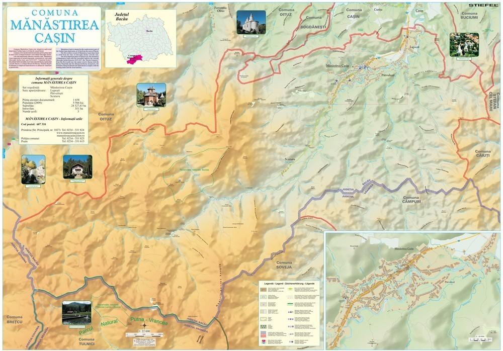 Harta Comunei Manastirea Casin BC - sipci de lemn