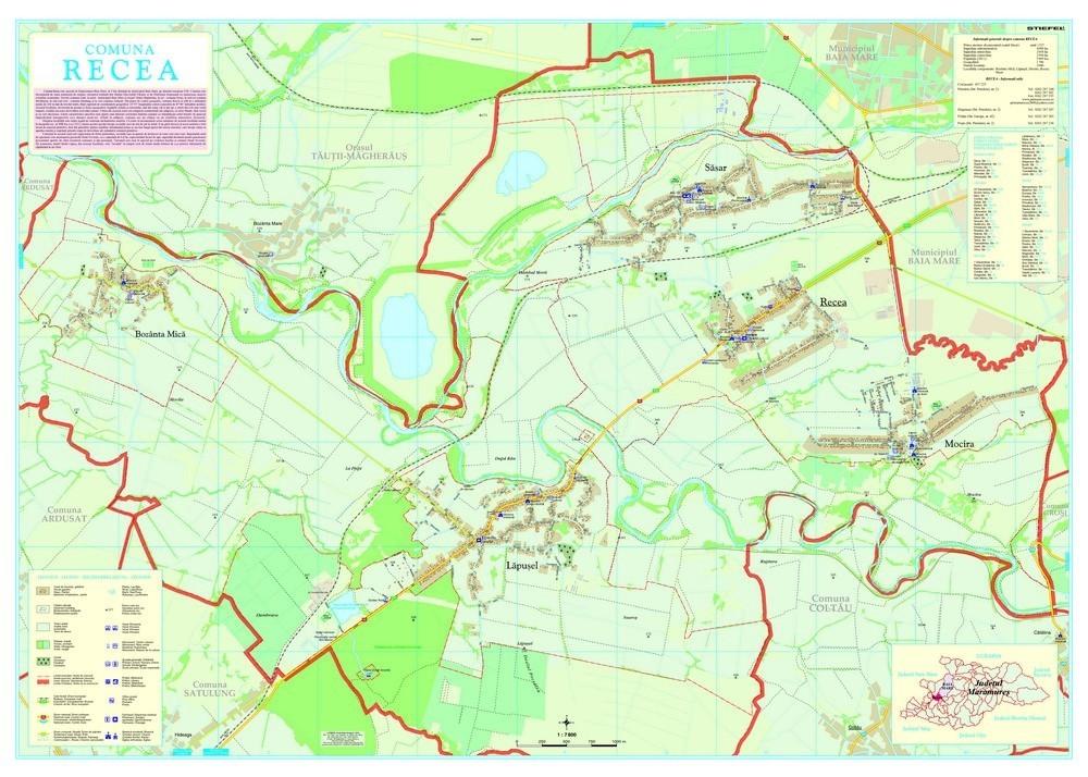 Harta Comunei Recea MM - sipci de lemn
