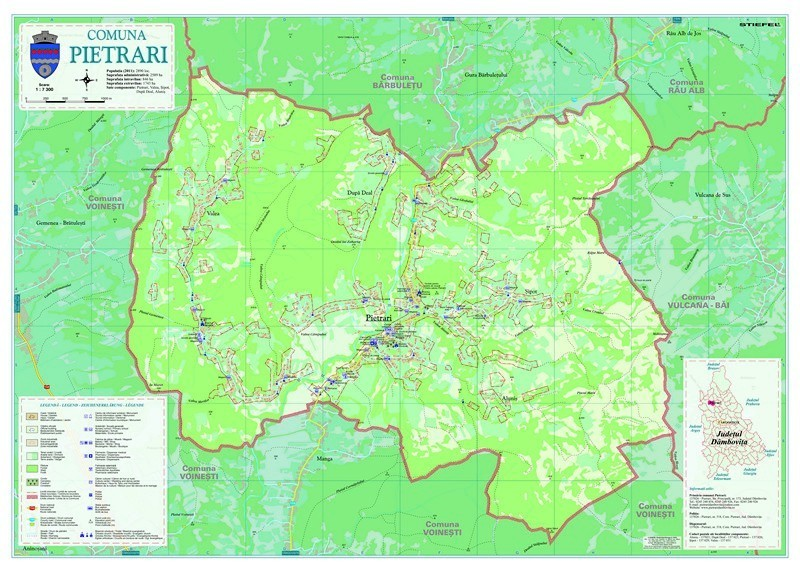 Harta Comunei - Pietrari DB - extravilan sipci de lemn