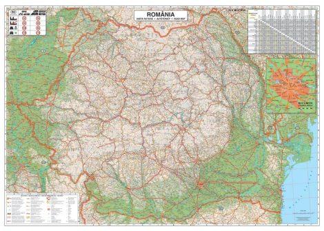 Hartă de perete România Rutieră 100x70 cm - ediție veche
