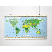Harta lumii pentru copii, cu autocolante, foliată pe o singură parte