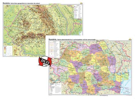 România. Harta fizico-geografică/România. Harta administrativa - bilingv - DUO PLUS