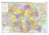 România. Harta administrativă şi a principalelor căi de comunicaţie