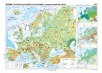 Europa. Harta fizico-geografică şi a principalelor resurse naturale de subsol