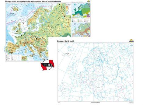 Europa. Harta fizico-geografică şi a principalelor resurse naturale de subsol – Duo