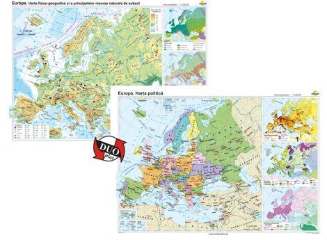Europa. Harta fizico-geografică şi a principalelor resurse naturale de subsol şi Europa. Harta politică – Duo Plus