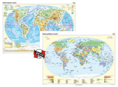 Harta fizică a lumii şi Harta politică a lumii – Duo Plus