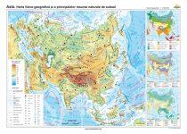 Asia. Harta fizico-geografică şi a principalelor resurse naturale de subsol