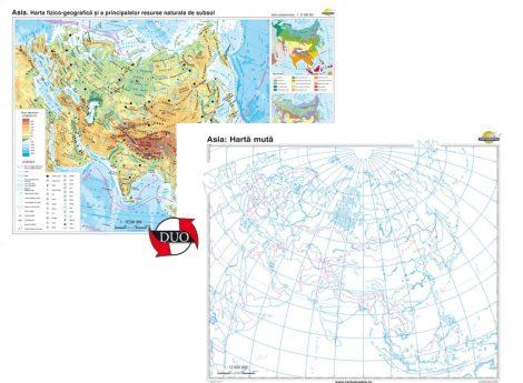Asia. Harta fizico-geografică şi a principalelor resurse naturale de subsol – Duo