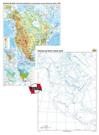 America de Nord. Harta fizico-geografică şi a principalelor resurse naturale de subsol – Duo