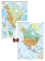 America de Nord. Harta fizico-geografică și a principalelor resurse naturale de subsol și America de Nord. Harta politică – Duo Plus