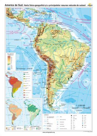 America de Sud. Harta fizico-geografică şi a principalelor resurse naturale de subsol