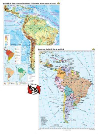 America de Sud. Harta fizico-geografică și a principalelor resurse naturale de subsol și America de Sud. Harta politică – Duo Plus