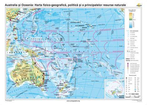 Australia şi Oceania. Harta fizico-geografică, politică şi a principalelor resurse naturale