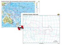 Australia şi Oceania. Harta fizico-geografică, politică şi a principalelor resurse naturale – Duo