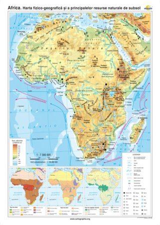 Africa. Harta fizico-geografică şi a principalelor resurse naturale de subsol