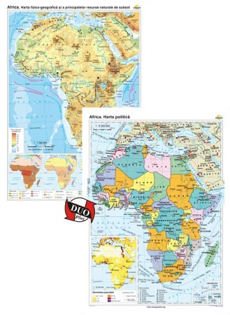Africa. Harta fizico-geografică și a principalelor resurse naturale de subsol și Africa. Harta politică – Duo Plus
