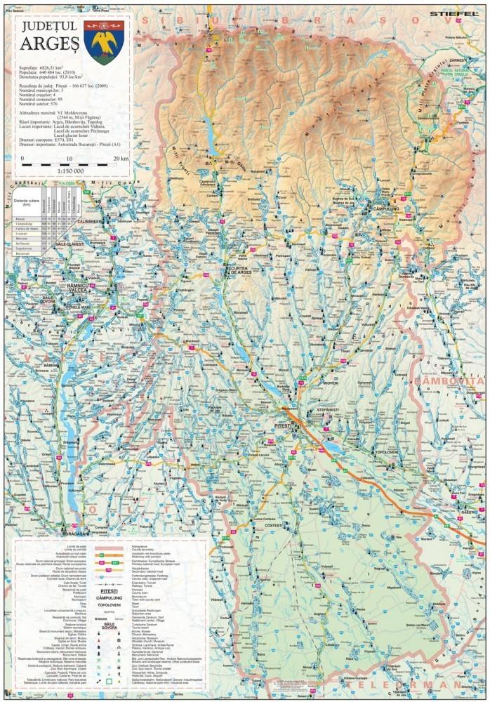 Harta Judetului Arges 70x100 Cm Sipci Plastic Stiefel Romania