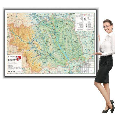 Harta Bacau in rama de aluminiu