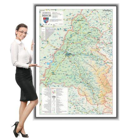 Harta județului Bihor în ramă de aluminiu