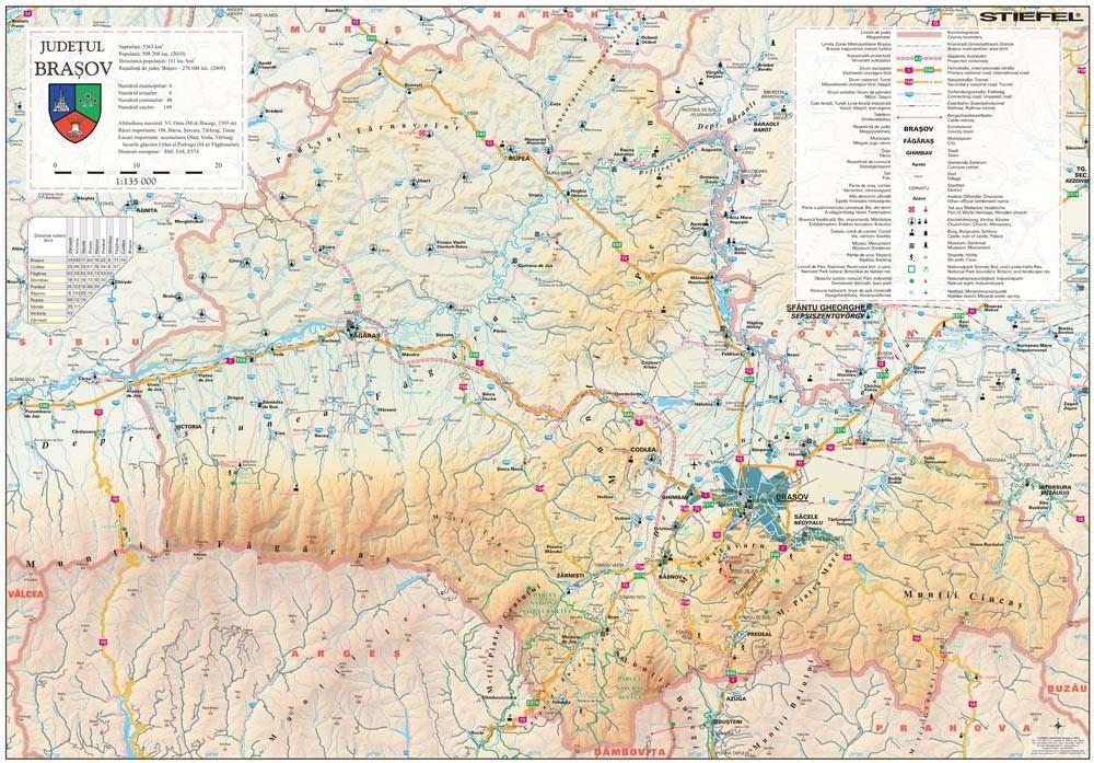 Harta Judetului Brasov 100x70 Cm Sipci Plastic Stiefel Romania