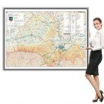 Harta județului Brașov în ramă de aluminiu
