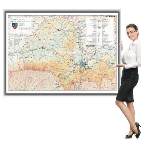 Harta Brașov în ramă de aluminiu