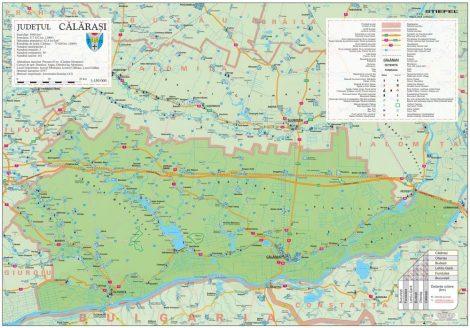 Harta județului Călărași, șipci plastic