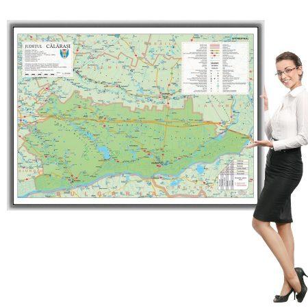 Harta Călărași în ramă de aluminiu
