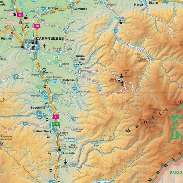 Harta Judetului Caras Severin 100x70 Cm Sipci Plastic Stiefel