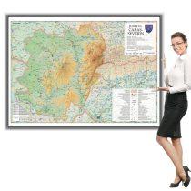 Harta județului Caraș- Severin în ramă de aluminiu