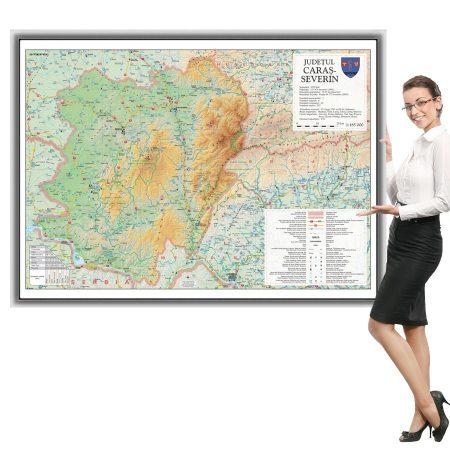 Harta Caraș- Severin în ramă de aluminiu